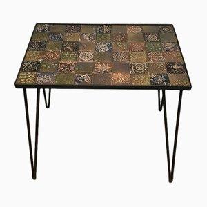 Petite Table Basse en Laque Noire et Céramique, 1970s