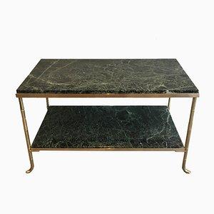 Mesa de centro francesa pequeña de bronce y latón en forma de bambú con superficie de mármol grueso, años 40