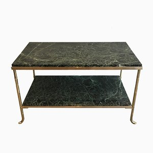 Small French Bronze and Brass Faux-Bamboo Coffee Table with Thick Marble Top, 1940s