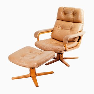 Brown Leather Lounge Chair & Ottoman, 1970s