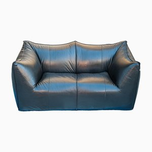 Black Leather Le Bambole 2-Seater Sofa by Mario Bellini for B&B Italia, 1970s