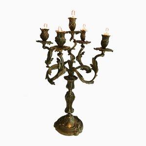 5-armige Bronze Kerzenständer, 1900er, 2er Set