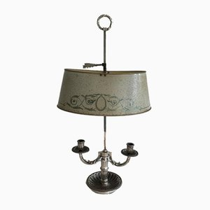 Bouillotte Lamp with Painted Tole Shade, 1900s