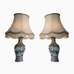 Chinese Porcelain Lamps, 1920s, Set of 2