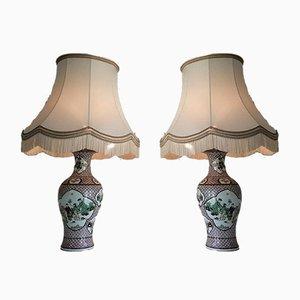 Lámparas chinas de porcelana, años 20. Juego de 2