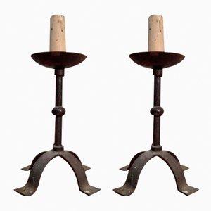 Candelabros vintage de hierro forjado