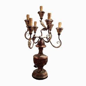 Italian Painted Wood and Metal Candelabra, 1960s