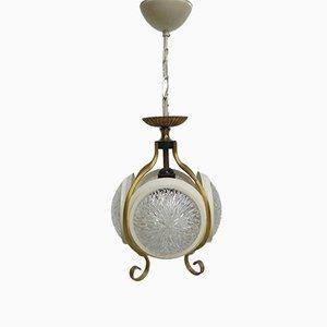 Lampada a sospensione vintage con quattro dischi in vetro