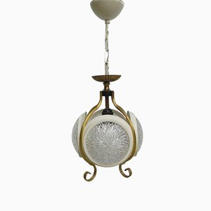 Vintage Hanging Lamp with 4 Round Glass Discs