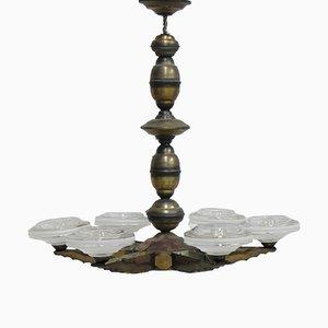 Lámpara colgante Art Déco con seis cuencos de vidrio