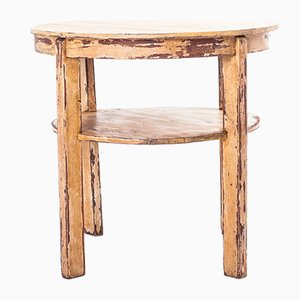 Tavolo vintage rotondo con scaffale