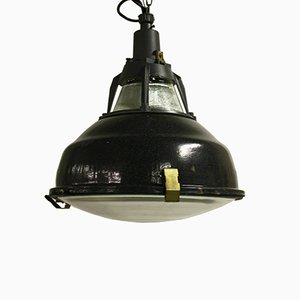 Vintage Black Enamel Industrial Pendant Light with Glass, 1950s