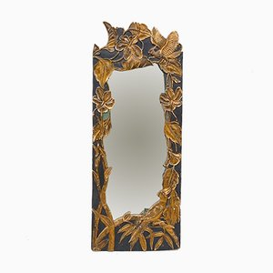 Hollywood Regency Mirror with Gold Colored Birds & Bamboo, 1920s