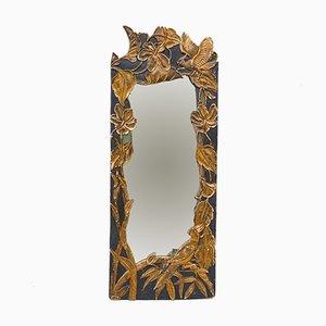 Specchio Hollywood Regency con uccelli e bambù dorati, anni '20