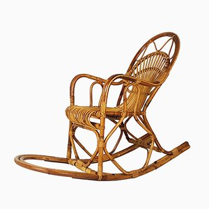 Vintage Italian Rattan Rocking Chair from Bonacina, 1960s