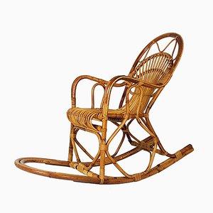 Vintage Italian Rattan Rocking Chair from Bonacina, 1960s