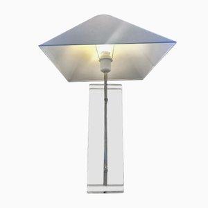 Lampada da tavolo in vetro, lucite ed ottone di Fredrick Ramond, anni '80