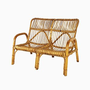 Mid-Century Italian Rattan Two-Seater Bench