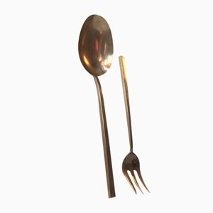Mid-Century Bronze Salad Serving Set by Sigvard Bernadotte for Scanline, 1950s