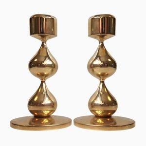 Portacandele modernisti placcati in oro a 24K di Hogo Asmussen, anni '60, set di 2
