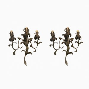 Painted Metal Wall Sconces, 1940s, Set of 2