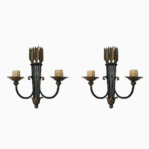 Wrought Iron Wall Sconces, 1940s, Set of 2
