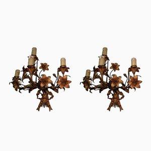Apliques florales antiguos de metal dorado y bronce, década de 1900. Juego de 2