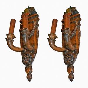 Apliques vintage de madera tallada. Juego de 2