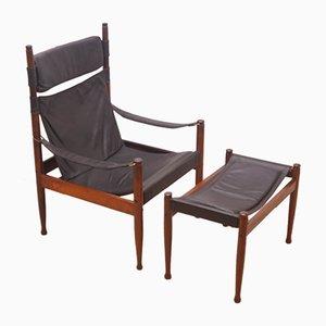Chaise et Repose-pied Safari par Erik Wørts pour Niels Eilersen, 1960s