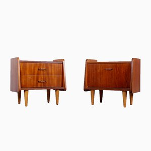 Teak Wood Nightstands or Small Bed Side Cabinets, 1950s, Set of 2