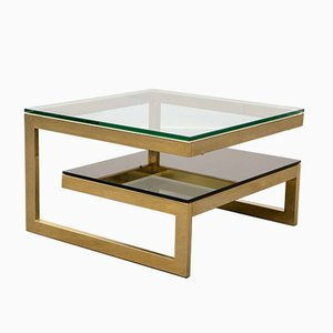 Two-Tier Coffee Table with 23 Karat Gold Plating from Belgo Chrom, 1980s