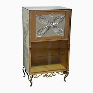 Mueble bar con vidrio espejo, años 50