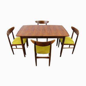 Danish Extendable Table & 4 Chairs from Dyrlund, 1950s
