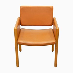 Leather and Wood Armchair from Knoll International, 1980s