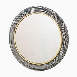 Runder Wandspiegel mit Metallrahmen, 1960er