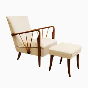 Italian Lounge Chair & Ottoman by Paolo Buffa, 1940s