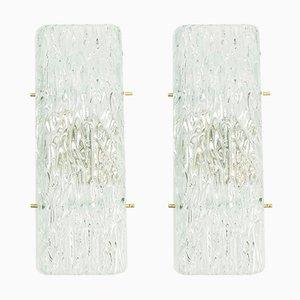 Apliques de cristal de hielo de Kalmar, años 60. Juego de 2