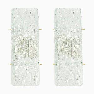 Ice Glass Sconces from Kalmar, 1960s, Set of 2