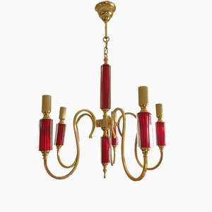 Vintage Brass & Red Crystal Chandelier