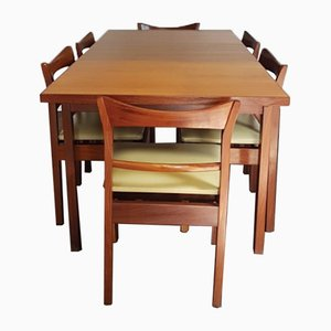 Mid-Century Floating Extending Teak Dining Table & 6 Chairs