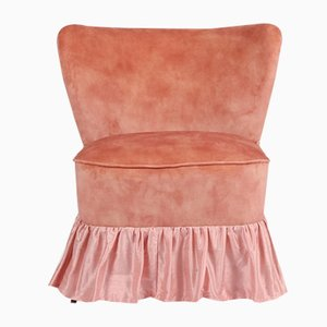 Cocktail Chair with Pink Silk Skirt, 1950s