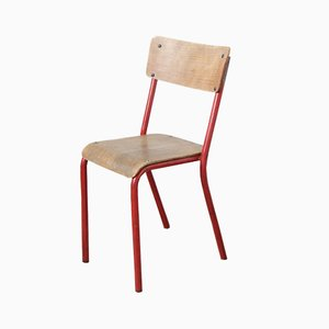 Roter Mid-Century Klassenzimmer Stuhl