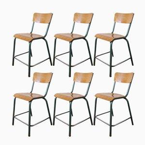 Mid-Century High School Chairs, Set of 6
