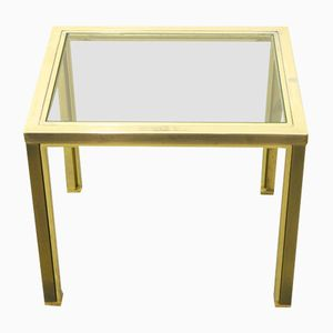 Side Table with Glass and 23-Karat Gold Plating from Belgo Chrom, 1980s