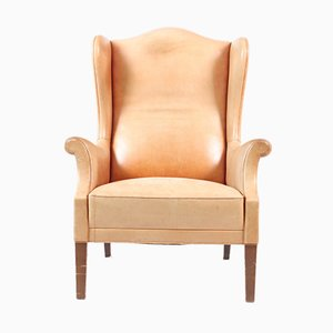 Leather Wingback Armchair, 1960s
