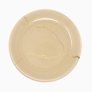 Tsukroi 2 Beige Urushi Lacquered Glass Plate by Kazuyo Komoda for Hands On Design