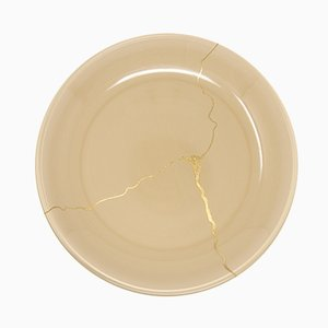 Tsukroi 3 Beige Urushi Lacquered Glass Plate by Kazuyo Komoda for Hands On Design