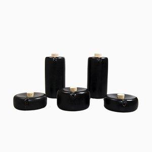 Schwarzes Bombette Arita Porzellan Vinaigrette Set von Kanz Architetti für Hands On Design