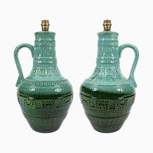Lámparas de mesa alemanas grandes de cerámica esmaltada, años 60. Juego de 2