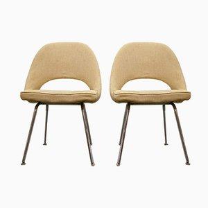 Sillas de comedor con patas cromadas de Eero Saarinen para Knoll International, años 60. Juego de 2